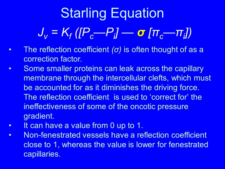 Starling Equation Jv = Kf ([Pc—Pi] — σ [πc—πi])